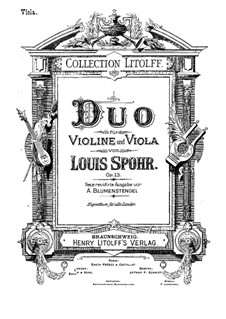 Grand Duet for Violin and Viola, Op.13: Parts by Louis Spohr