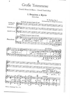 Grande Messe des morts (or Requiem), H.75 Op.5: Requiem and Kyrie for choir and piano by Hector Berlioz