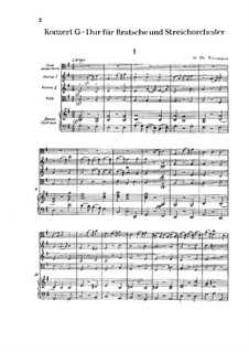 Concerto for Viola, Strings and Basso Continuo in G Major, TWV 51:G9: Full score by Georg Philipp Telemann