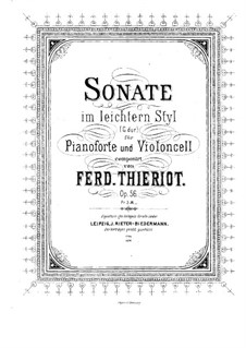 Sonata for Cello and Piano, Op.56: Score by Ferdinand Thieriot