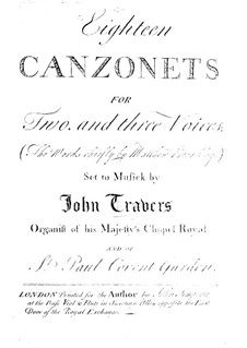 Eighteen Canzonets for Voices and Basso Continuo: Eighteen Canzonets for Voices and Basso Continuo by John Travers
