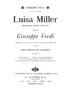 Luisa Miller: For piano by Giuseppe Verdi