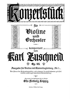 Concert Piece, Op.46: For violin and piano by Karl Zuschneid