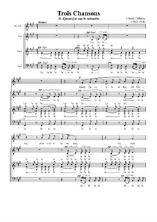 Three Songs, L.92: No.2 Quand j'ai ouy le tambourin sonner by Claude Debussy