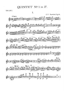 String Quintet No.1 in F Major, Op.85: Parts by Charles Villiers Stanford