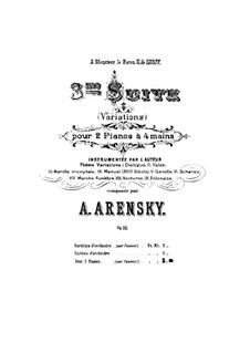 Suite for Two Pianos Four Hands No.3 'Variations', Op.33: First part, second part by Anton Arensky