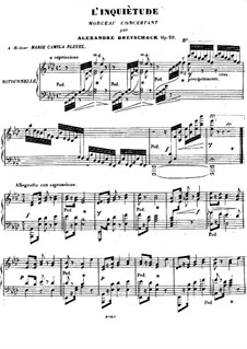 L'inquiètude, Op.29: For piano by Alexander Dreyschock