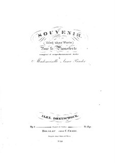 Souvenir. Song without Words, Op.4: Souvenir. Song without Words by Alexander Dreyschock