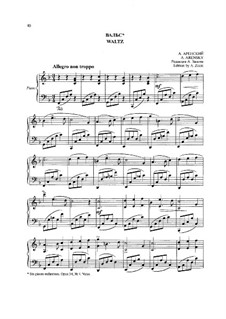Six Children's Pieces, Op.34: No.4 Waltz, for Piano by Anton Arensky
