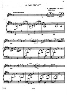 Four Pieces, Op.25: No.1 Impromptu, for flute and piano by Anton Arensky