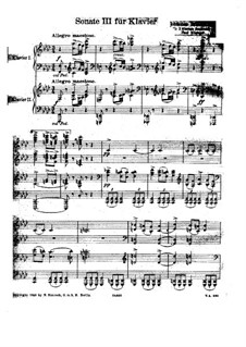 Sonata for Piano No.3 in F Minor, Op.5: Movements I-II. Version for two pianos four hands by Johannes Brahms