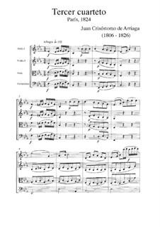 String Quartet No.3 in E Flat Major: String Quartet No.3 in E Flat Major by Juan Crisóstomo de Arriaga