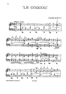 Six Children's Pieces, Op.34: No.2 The Cuckoo (D Major) by Anton Arensky