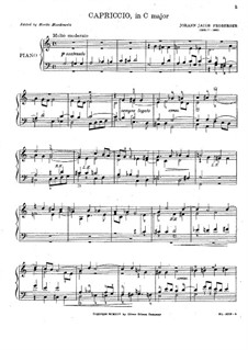 Capriccio in C Major, FbWV 506: For organ by Johann Jacob Froberger