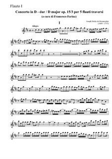 Concerto for Five Flutes No.3 in D Major, Op.15: Concerto for Five Flutes No.3 in D Major by Joseph Bodin de Boismortier