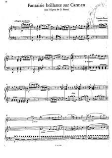 Fantasia Brilliant on Themes from 'Carmen' by Bizet for Flute and Piano: Score for two performers, solo part by François Borne