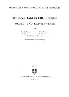 Complete Works for Keyboard: Book III by Johann Jacob Froberger