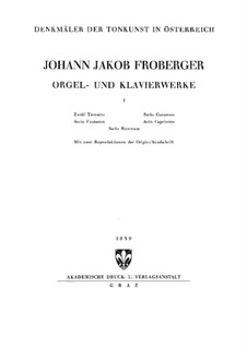 Complete Works for Keyboard: Book I by Johann Jacob Froberger
