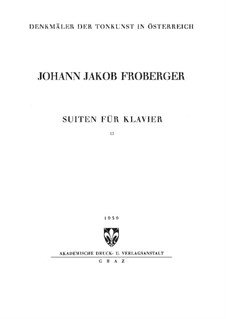 Complete Works for Keyboard: Book II by Johann Jacob Froberger