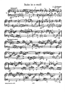Suite in E Minor: For piano by Johann Jacob Froberger
