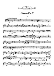 Symphony No.2 'The Four Temperaments', FS 29 Op.16: French horns III-IV parts by Carl Nielsen