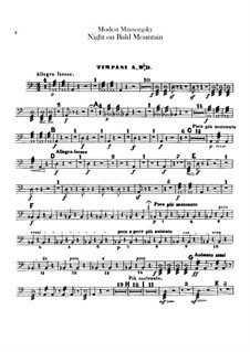 Night on Bald Mountain: Percussion parts by Modest Mussorgsky