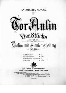 Four Pieces for Violin and Piano, Op.16: No.1 Barcarole – violin part by Tor Aulin