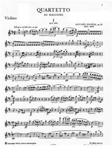 Piano Quartet No.1 in D Major, B.53 Op.23: Violin I part by Antonín Dvořák