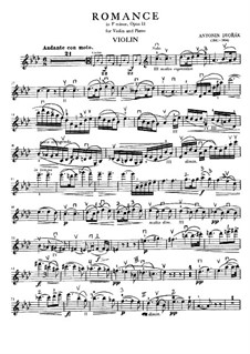 Romance in F Minor, B.39 Op.11: For violin and piano – violin part by Antonín Dvořák