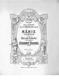 Nänie, Op.82: Full score by Johannes Brahms