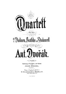 String Quartet No.14 in A Flat Major, B.193 Op.105: Movements I-II. Version for piano four hands by Antonín Dvořák
