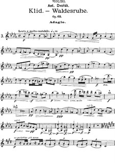From the Bohemian Forest, B.133 Op.68: No.5 Klid (Silent Woods), for Cello (or Violin, or Viola) and Piano – parts by Antonín Dvořák
