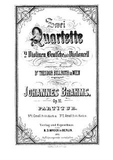 String Quartet No.1 in C Minor, Op.51: Full score by Johannes Brahms