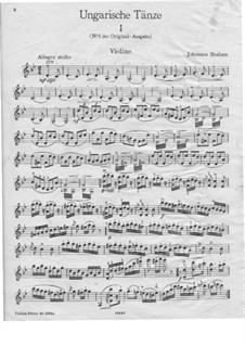 Dance No.1 in G Minor: For violin and piano – violin part by Johannes Brahms