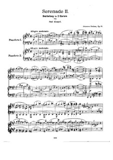 Serenade No.2 in A Major, Op.16: For two pianos four hands by Johannes Brahms