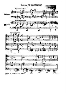 Sonata for Piano No.3 in F Minor, Op.5: Version for two pianos four hands by Johannes Brahms