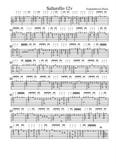 Saltarello for Lute, f.12v: Saltarello for Lute by Joan Ambrosio Dalza