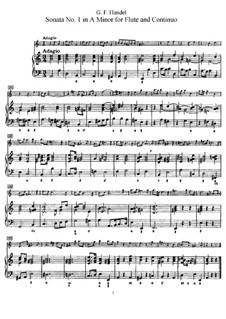 Sonata for Flute and Harpsichord No.1 in A Minor, HWV 374: Score, solo part by Georg Friedrich Händel