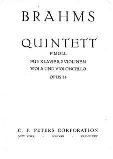 Piano Quintet in F Minor, Op.34: Full score, Parts by Johannes Brahms