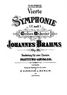 Movement I: Version for two pianos four hands by Johannes Brahms