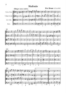 Sinfonia in D Minor for Strings and Basso Continuo: Full score by Per Brant