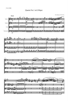 String Quartet No.1 in G Major, K.80/73f: Full score by Wolfgang Amadeus Mozart