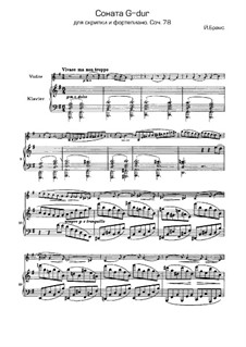 Sonata for Violin and Piano No.1 in G Major, Op.78: Movement I by Johannes Brahms