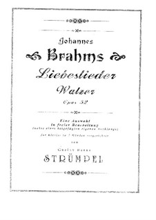 Love Song Waltzes, Op.52: For piano by Johannes Brahms