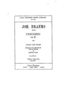Concerto for Violin and Orchestra in D Major, Op.77: Version for violin and piano by Johannes Brahms