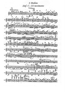 Movement III: Violin I part by Johannes Brahms