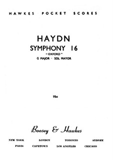 Symphony No.92 in G Major 'Oxford', Hob.I/92: Full score by Joseph Haydn