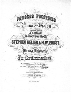 Pensées fugitives, Op.30: Complete set for violin and piano by Stephen Heller, Heinrich Wilhelm Ernst