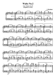 Waltz No.2: Arrangement for piano (simplified version) by Johannes Brahms