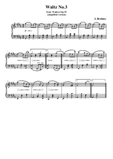 Waltz No.3: Arrangement for piano (simplified version) by Johannes Brahms